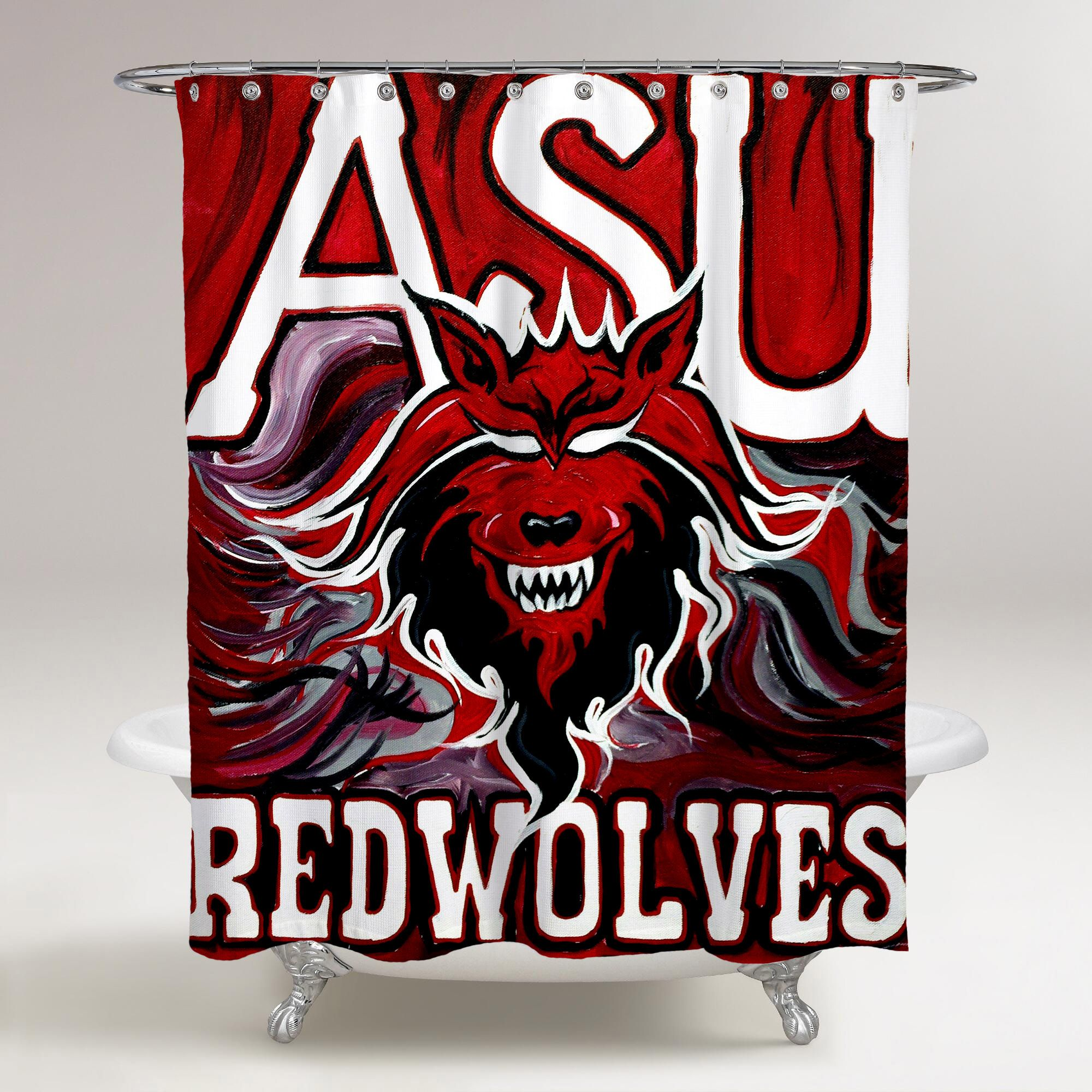Arkansas State Red Wolves Logo Wolves Asu Wallpaper Red Background Printed Shower Curtain Bathroom Decor Red Wolf Bathroom Shower Curtains Wolf Bathroom Decor