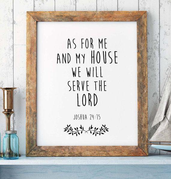Scripture Wall Art Home Decor ~ Bible verse print joshua scripture