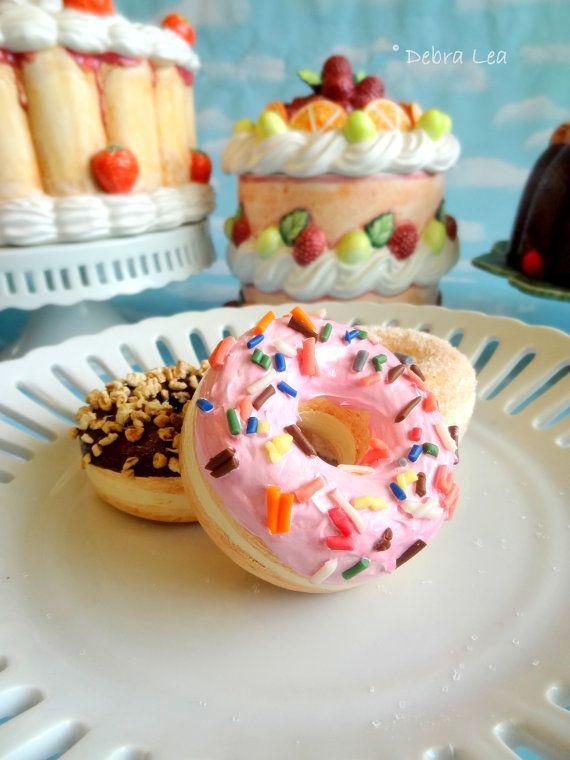 Fake Donuts Faux Doughnuts Set of 3 Handmade by ImagineOutLoud