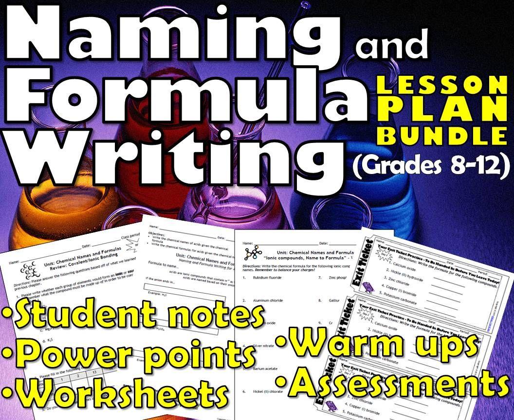 Lesson Plan Bundle Naming Amp Formula Writing Ionic