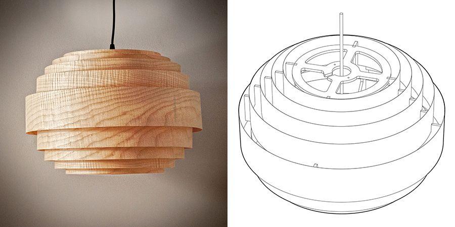Wood Veneer Boll Chandelier Pendant Lighting Diy Floor Lamp Diy