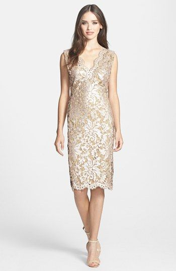 b02e06f3 Tadashi Shoji V-Neck Sequin Lace Sheath Dress available at #Nordstrom