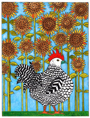 Chicken Wandering in the Sunflowers by Alyson Chase