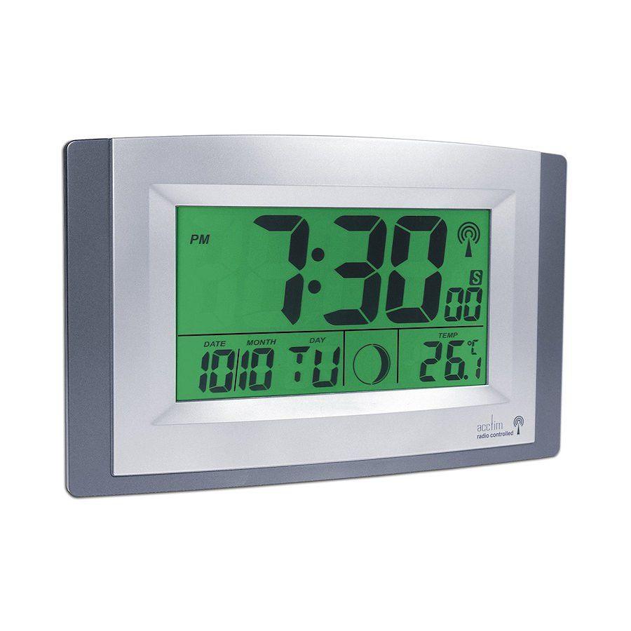 Acctim Stratus Radio Controlled Digital Wall Clock Big LCD Display