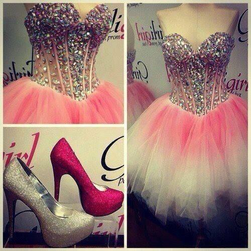 Pink glitter prom dress