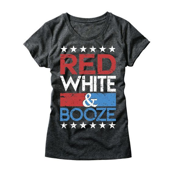 055014ff Womens Red White and Booze Shirt - Funny Ladies 4th of July Shirt - Red  White and Boozed T-Shirt - G