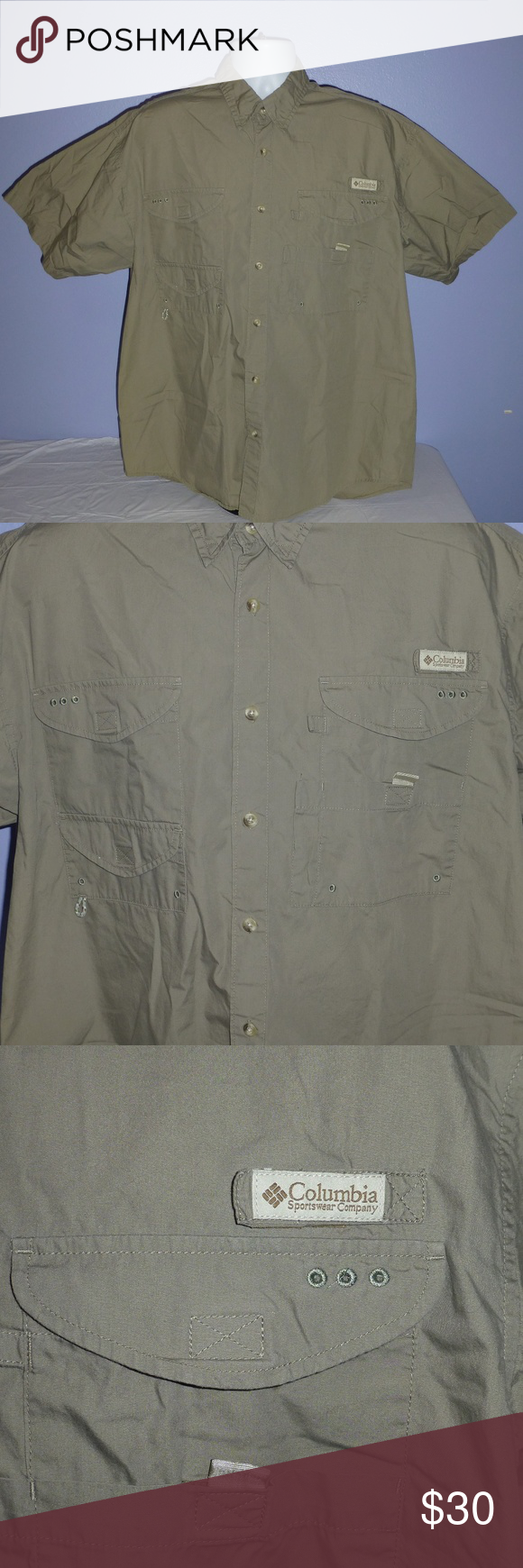 Columbia PFG Khaki SS Vented Fishing Shirt L Men's Columbia