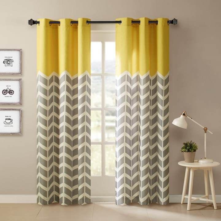 Intelligent Design Elle Chevron Window Curtain Set Chevron Curtains Drapes Curtains Yellow Curtains