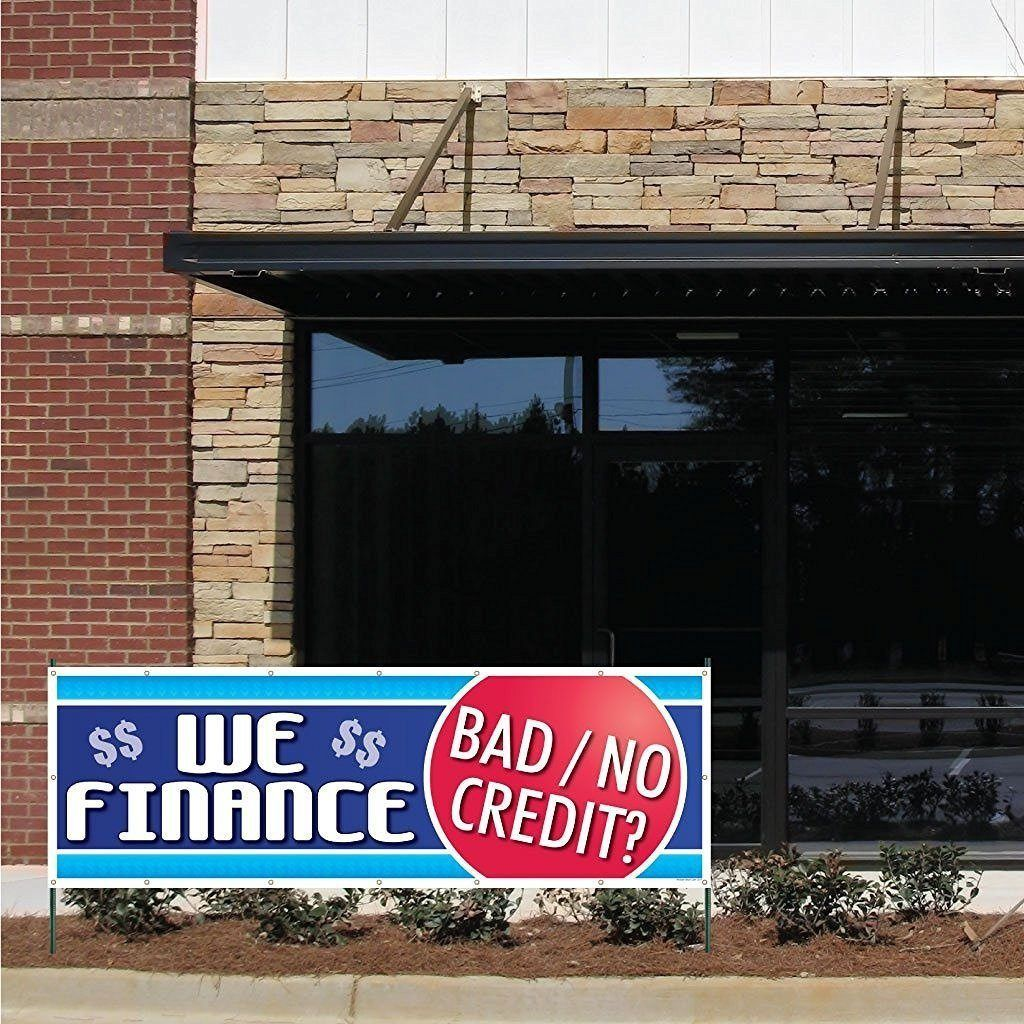 Auto Sales Banner We Finance Bad No Credit 2 X6 Vinyl Banner With Grommets Vinyl Banners Windshield Repair Paper Banners