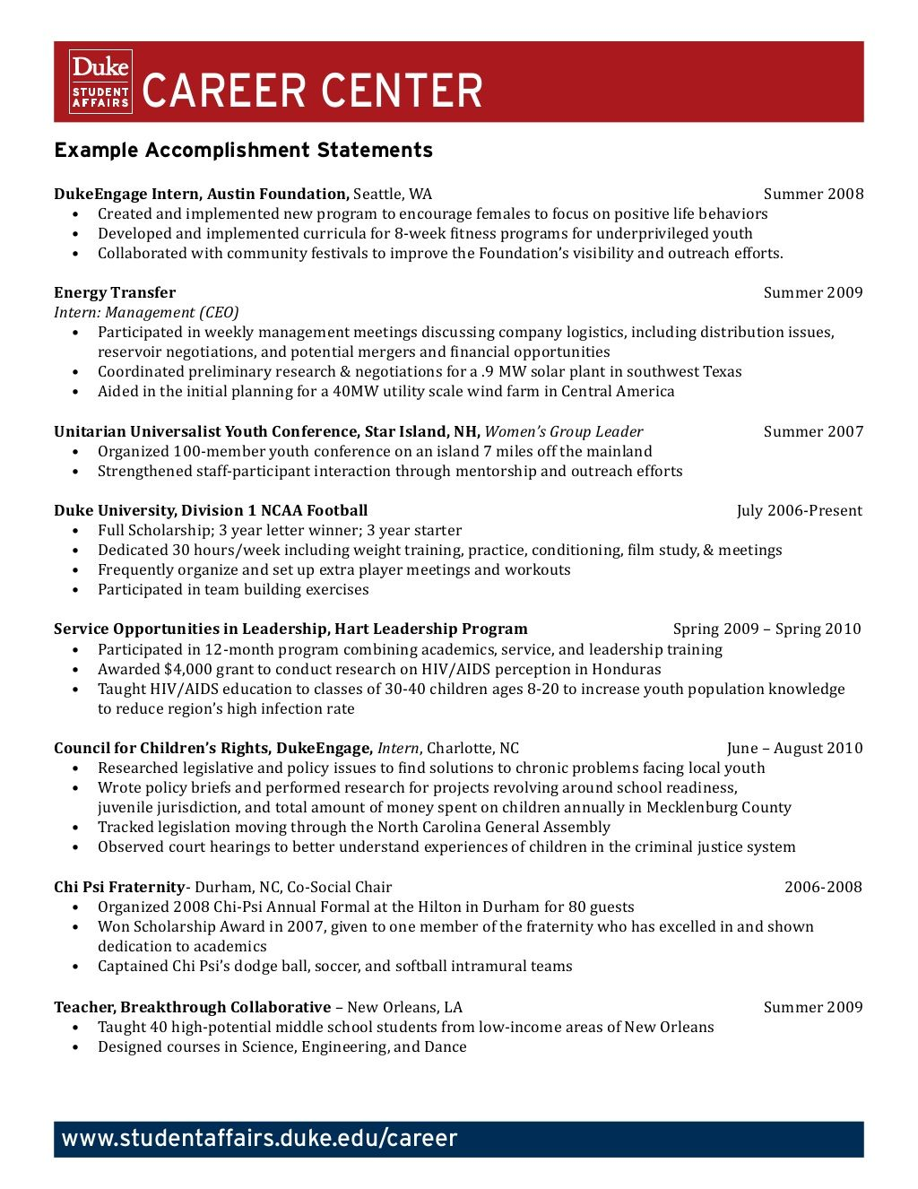 example accomplishment statements by duke university career center via slideshare
