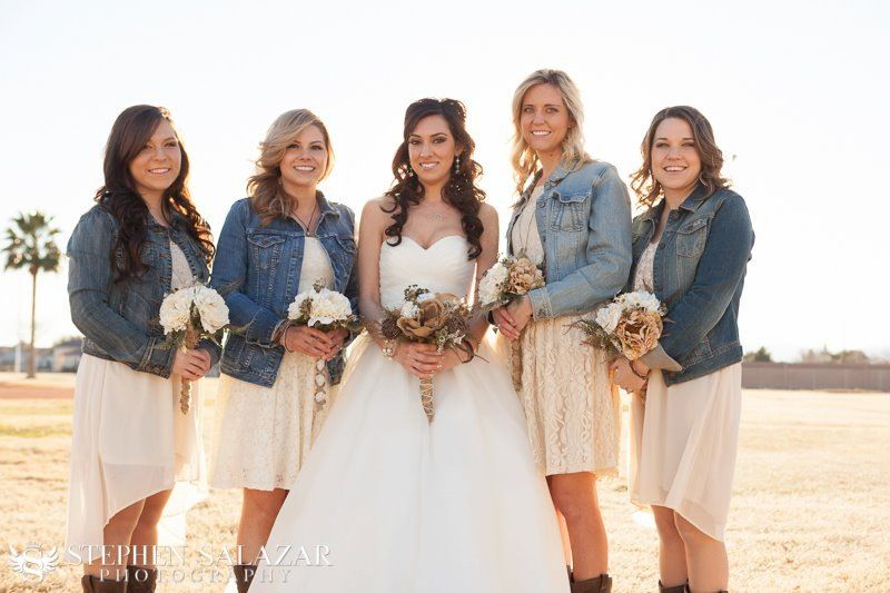 ab8a4adedf Country wedding lace dresses and jean jackets. My bridesmaids might ...