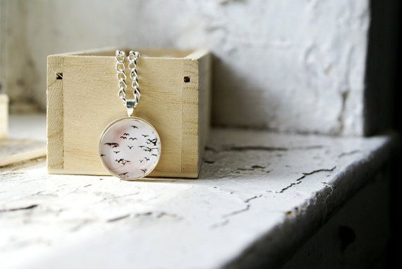 Seagulls Flying Away Photo Jewelry Necklace Silhouette by thebqe