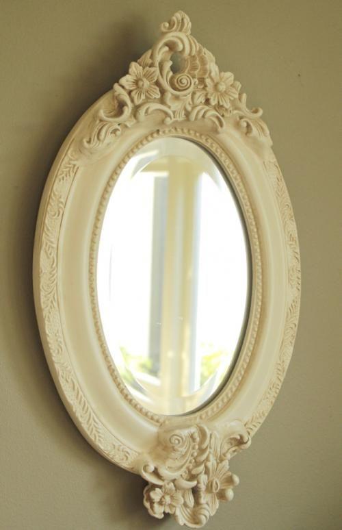 Oval Cream Ornate Flower Vintage Mirror Bedroom Hall Chic Shabby Wall Hanging Mirror Decor Vintage Mirror