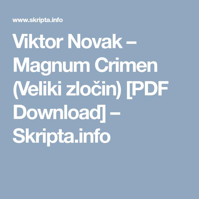 Viktor Novak Magnum Crimen Pdf