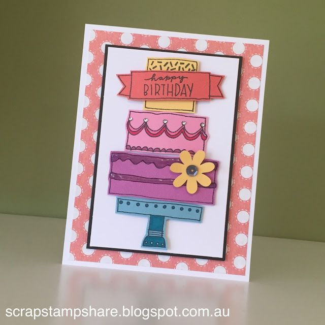 This card featuring the May Stamp of the Month and Zoe B&T Paper was designed and created by Denise Tarlinton, CTMH Manager.  The May Stamp of the Month, Celebrate with Cake is perfect for creating fun cards and page layouts.  It is available only in May 2016 for $27 or for $7.50 with a qualifying purchase.  Visit www.ScrapStampShare.ctmh.com.au to find out more.