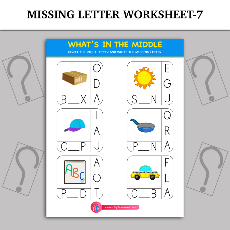Missing Letter Worksheet  Inky Treasure  Free Printable