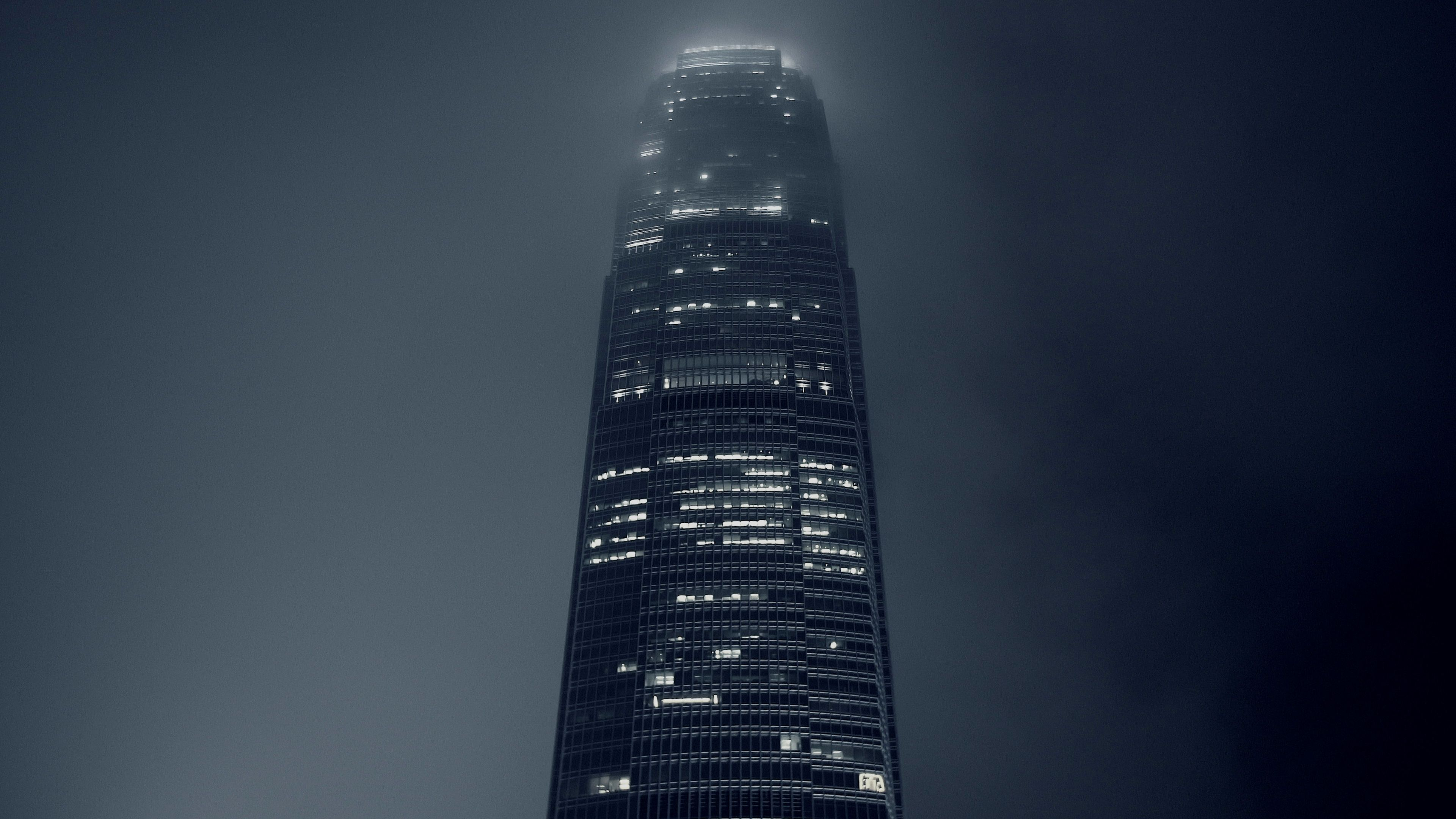 Time Lapse Of Clouds Passing Over Corporate Skyscraper At Night In Hong Kong Stock Footage Passing Corporate Clouds Time Skyscraper Clouds Night