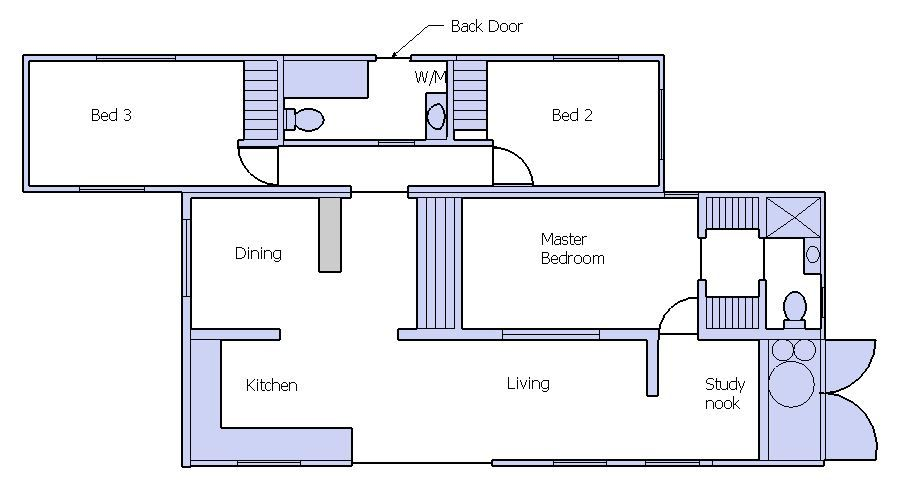 3 bedroom plan for a shipping container home with 15