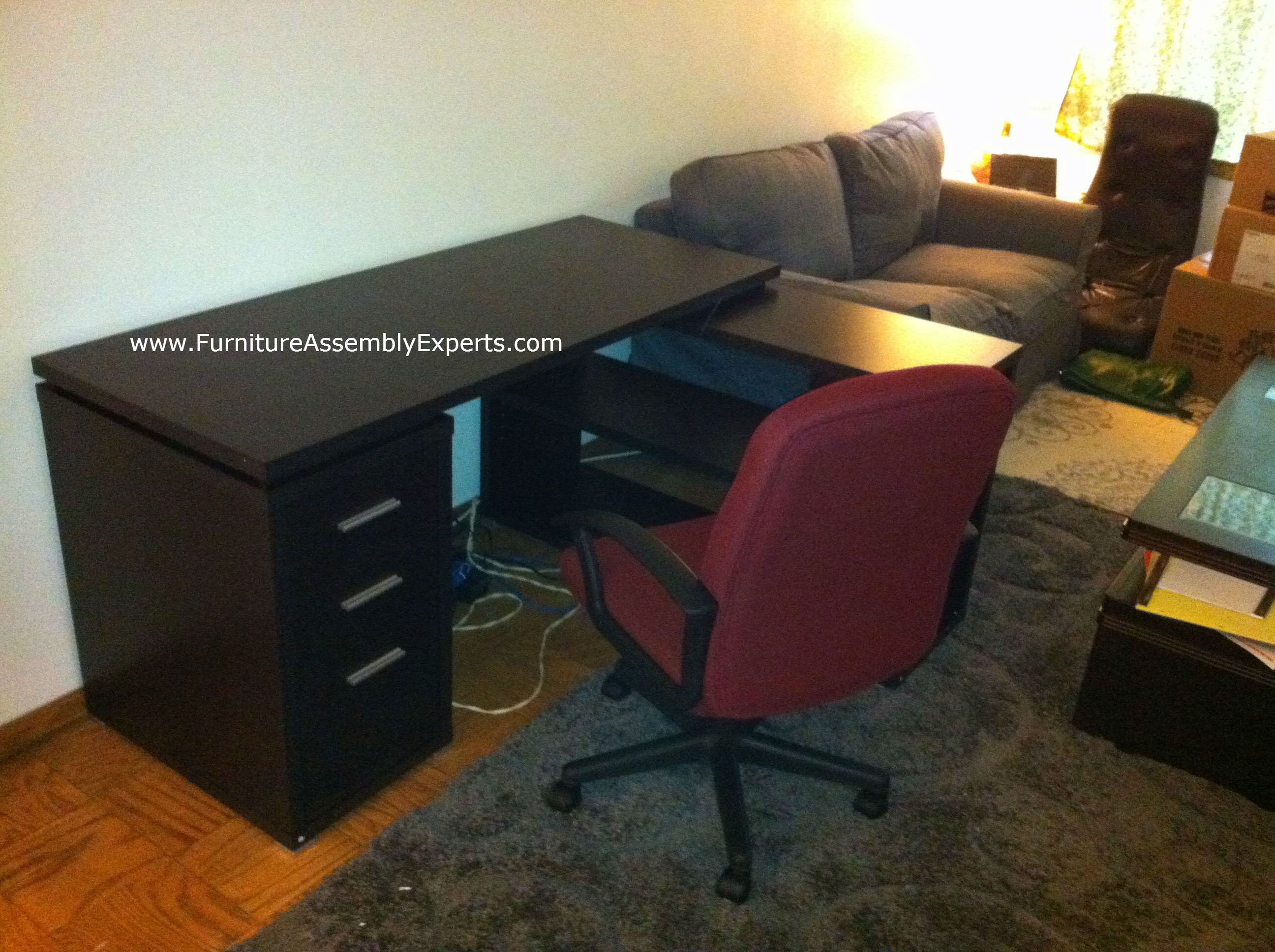 Walmart Hollow Core L Shaped Computer Desk Assembled In Alexandria Va By  Furniture Assembly