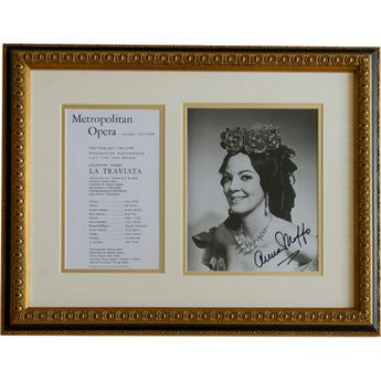 This autographed picture of Anna Moffo as Violetta in La Traviata is framed with a Met program dated April 1, 1960, which was her first season at the Metropolitan Opera. This is one of the unique opera collectibles available from the Met Opera Shop. http://www.metoperashop.org/shop/anna-moffo-signed-photograph-and-met-opera-program-12284