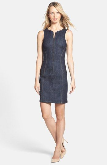 Theory 'Brayla D.' Denim Sheath Dress available at #Nordstrom Love the back of this dress!!!
