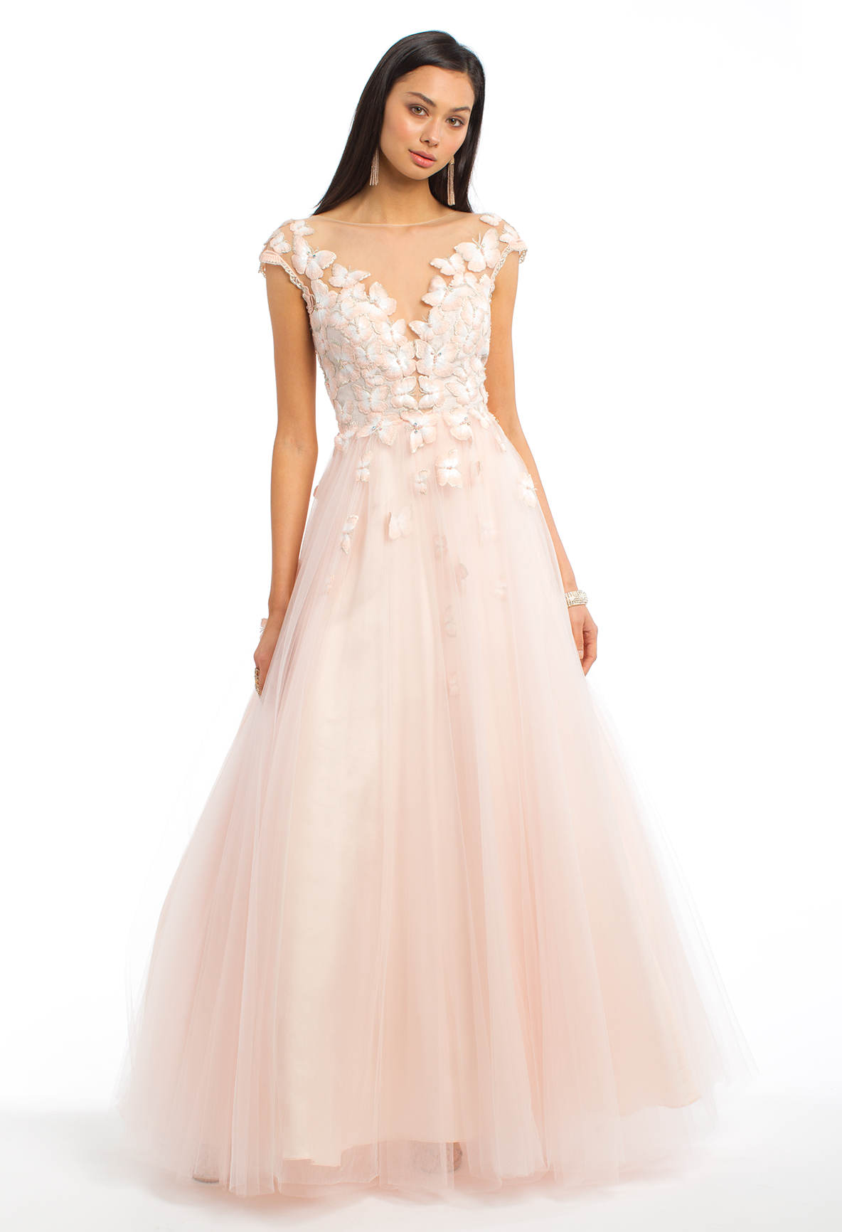 Illusion back butterfly cap sleeve ballgown ball gown dresses
