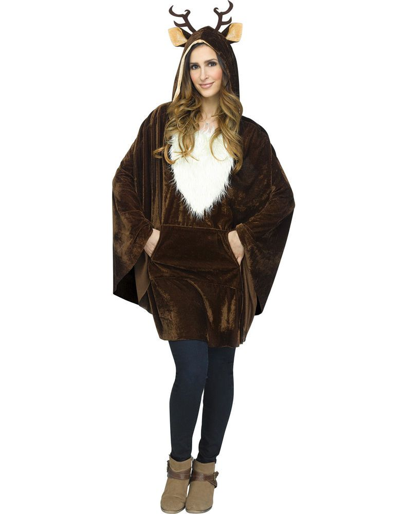 a325a7a360c Reindeer Deer Rudolph Womens Adult Christmas Holiday Plush Costume Poncho