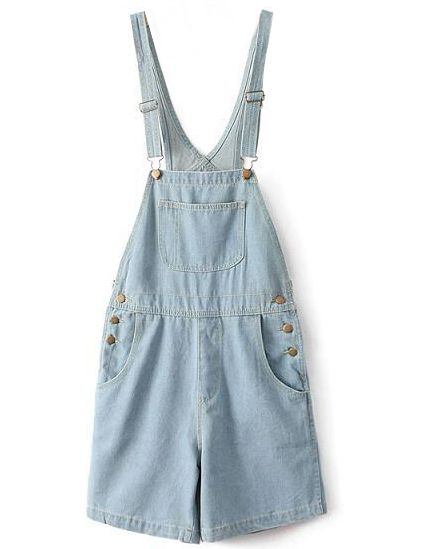 Blue Denim Dungaree Shorts US$28.00