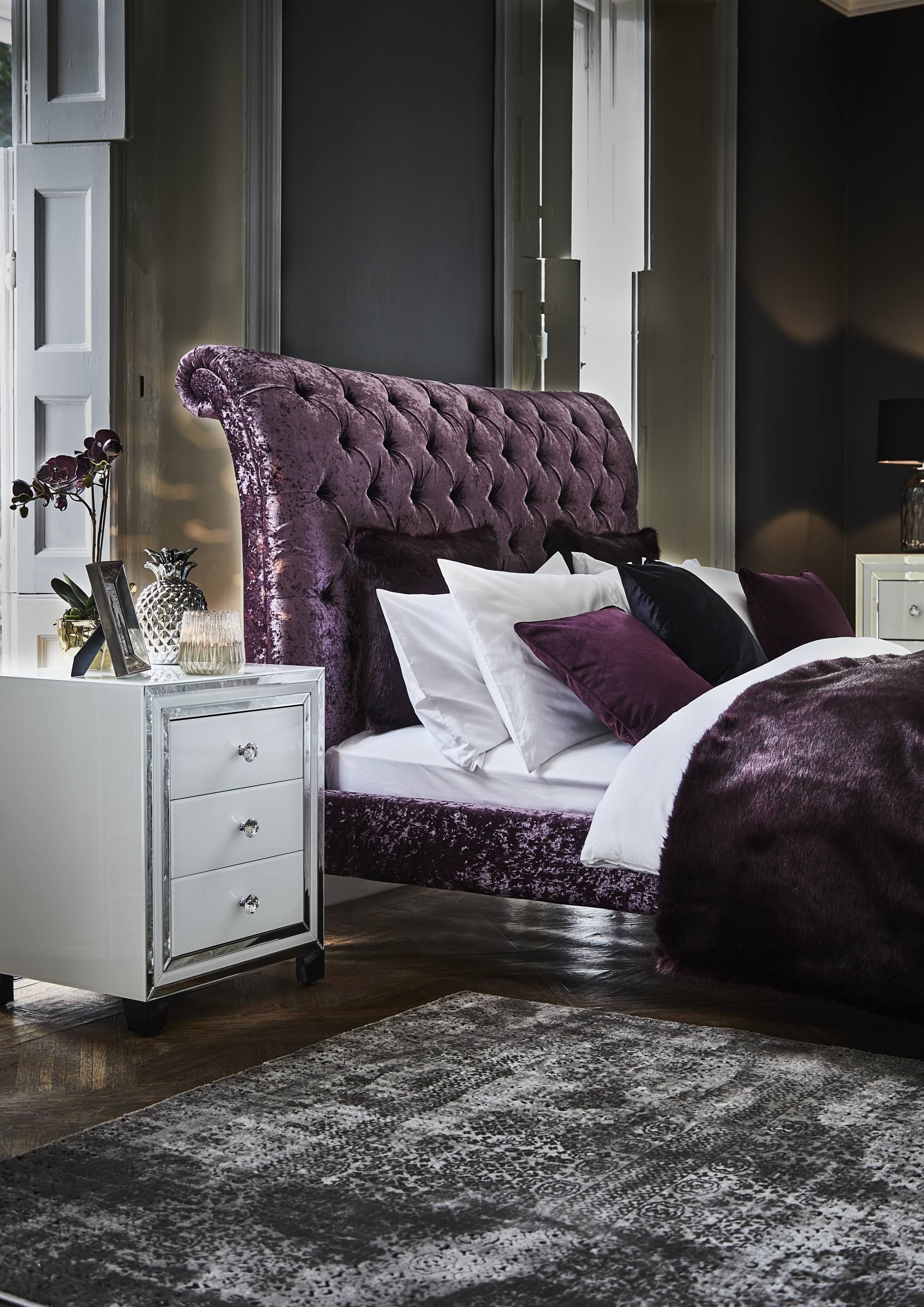 The Odeon Bed Frame Luxury Bedframe Beds Purple Bedroom