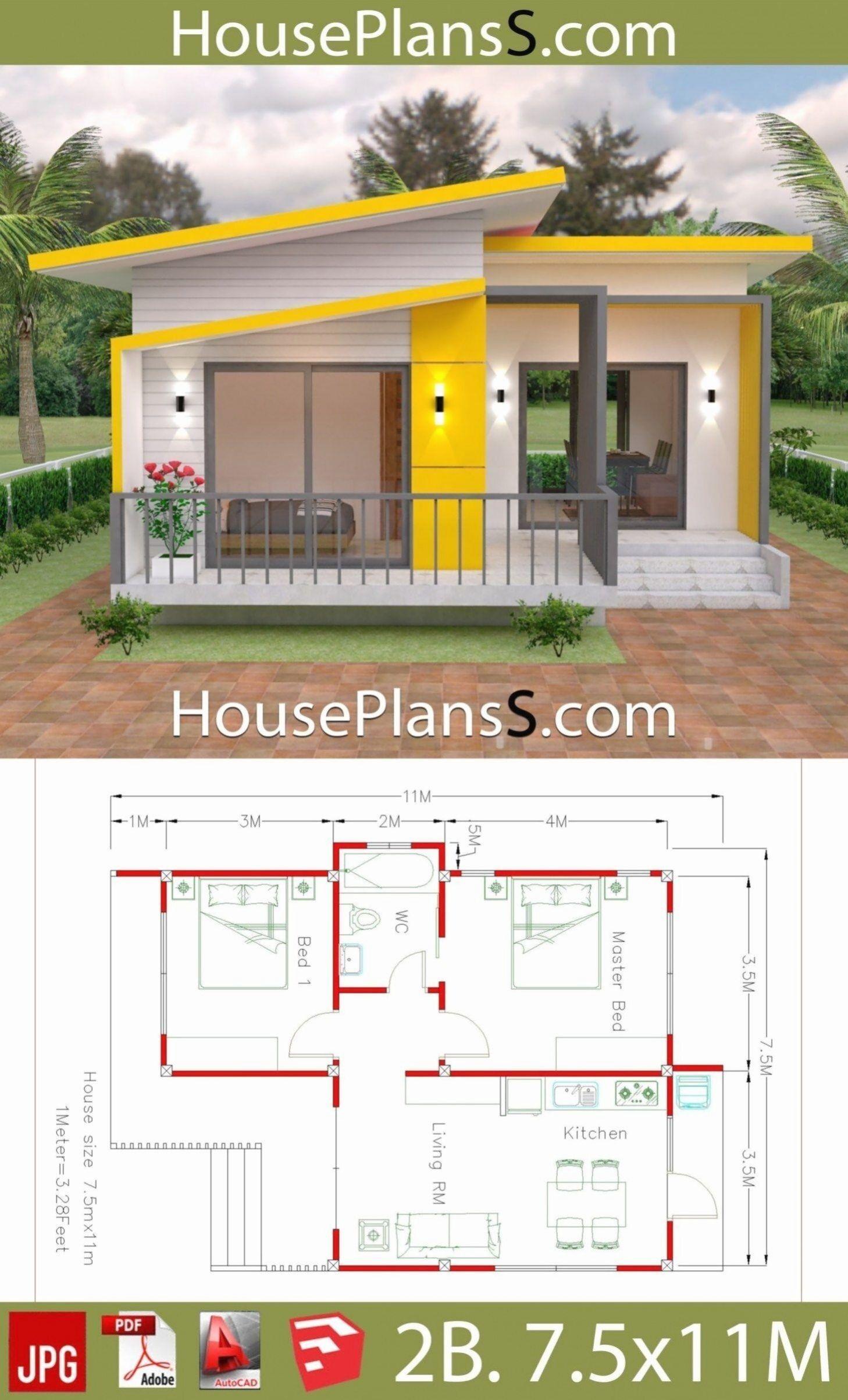 House Plans 7 5x With 2 Bedrooms Full Plans House Plans 3d House Plans 7 5 With 2 Bedrooms Full Plans House Plan Rumah Indah Arsitektur Arsitektur Rumah
