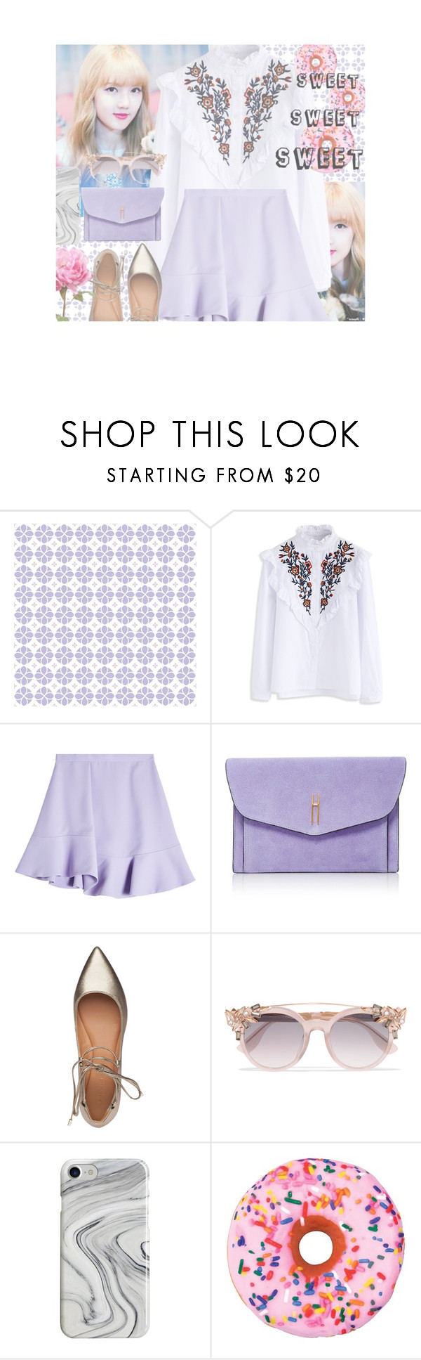 """435"" by niji-niji ❤ liked on Polyvore featuring York Wallcoverings, Chicwish, Carven, Hayward, Sigerson Morrison, Jimmy Choo, Recover and Iscream"