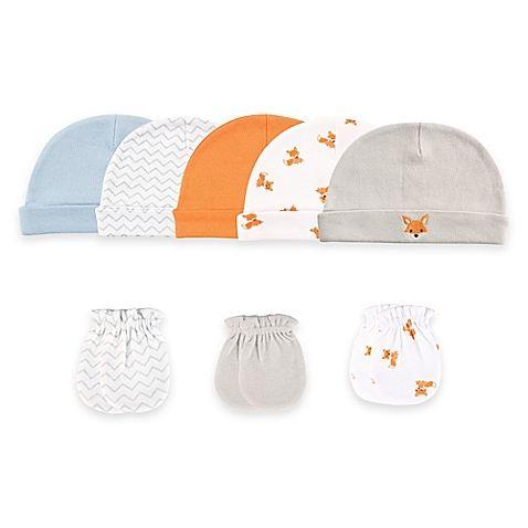 Baby Vision® Luvable Friends® Size 0-6M 8-Piece Cap & Mitten Set in Orange/Taupe/Fox