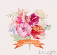 Free Download Watercolor Bouquet With Ribbon Vector Free Vector
