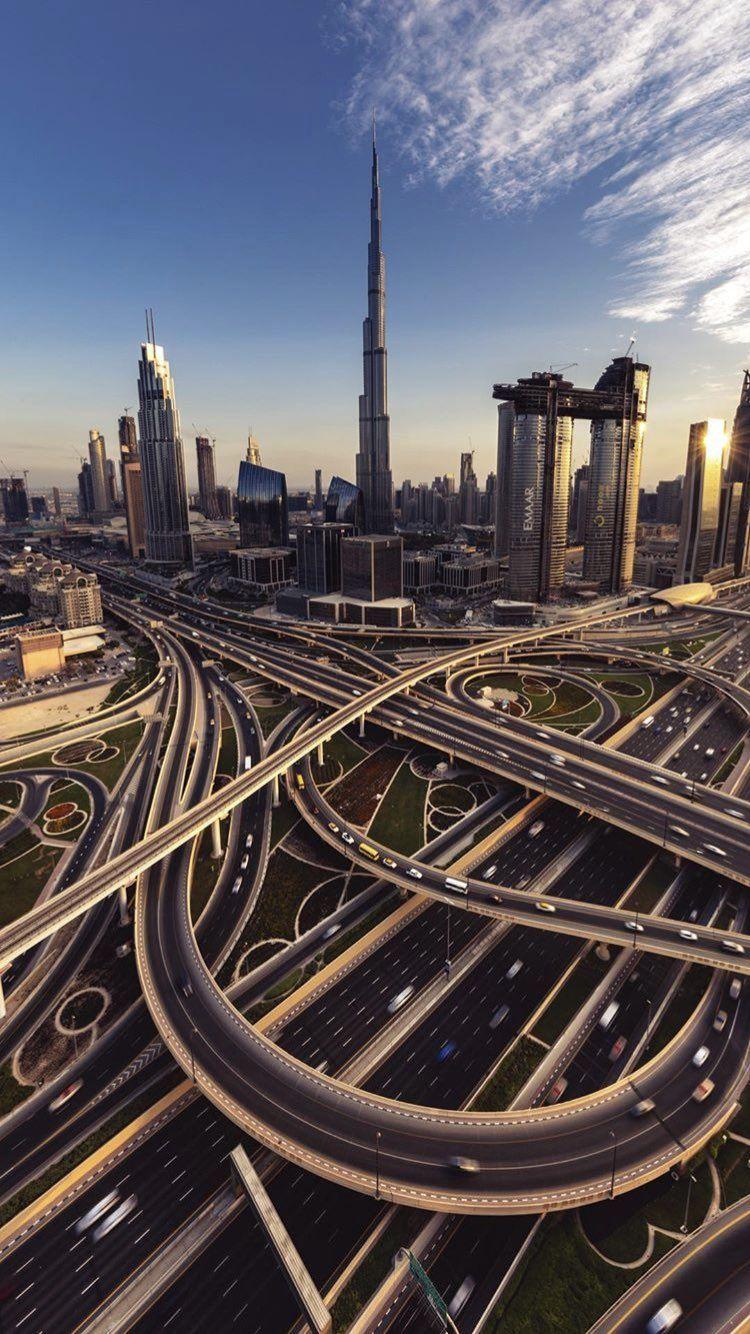 Downtown Dubai Sheikh Zayed Road Interchange With Burj Khalifa In