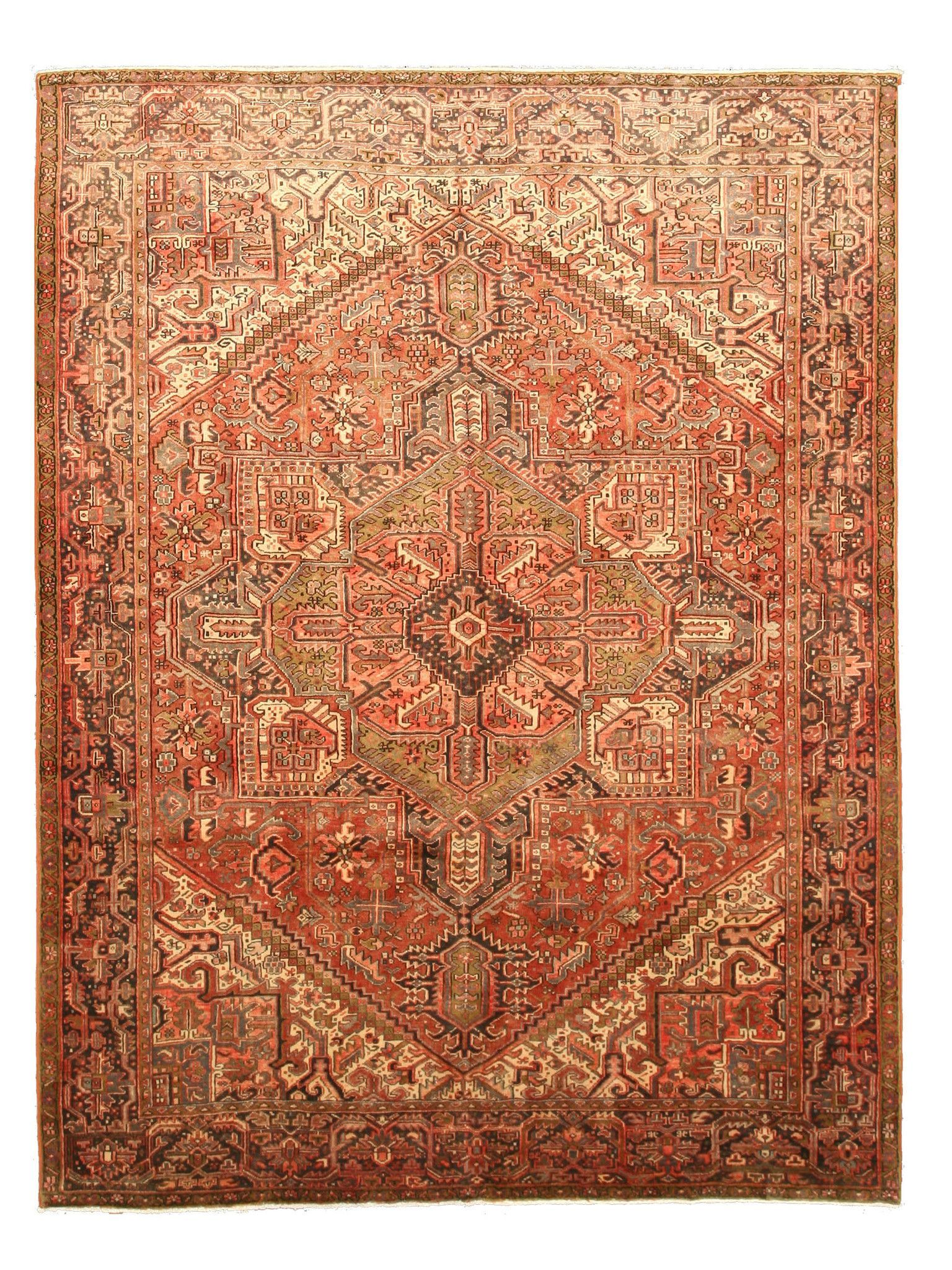 Hand-knotted Wool Rust Traditional Oriental Heriz Rug (8'6 x 11'5)