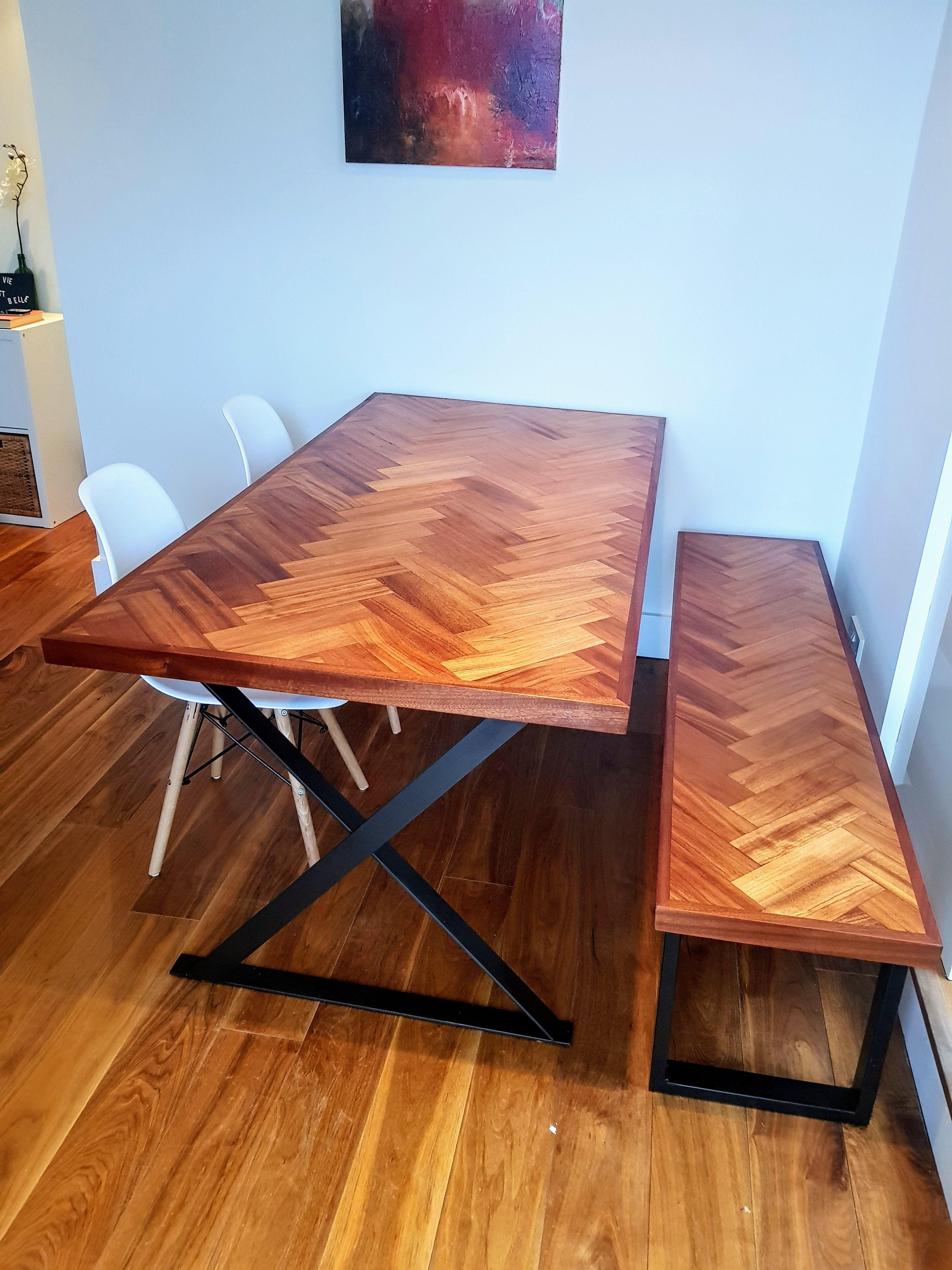 Built a Parquet Dining Table & Matching Bench handmade