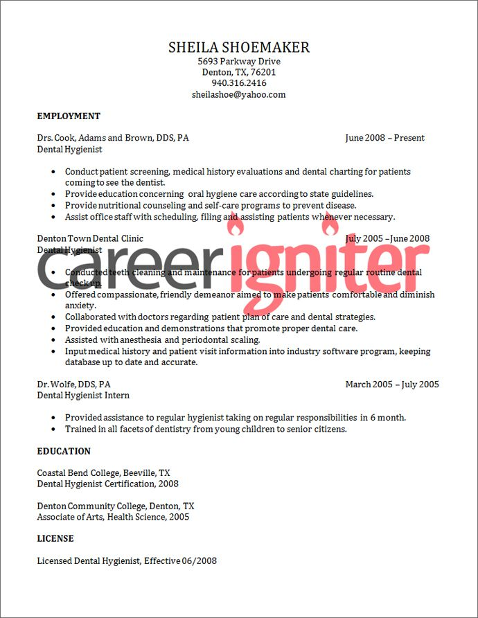 Dental Hygienist Resume Sample Resume Pinterest Dental - Dental Resume Examples