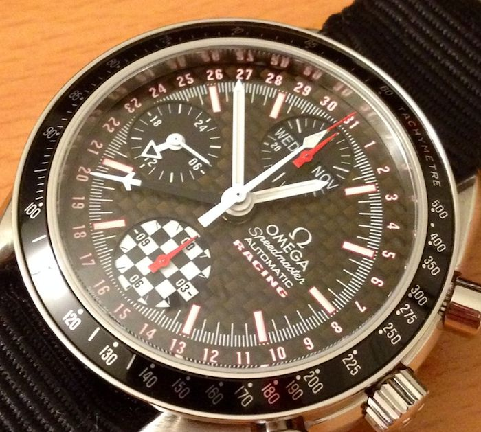 """FRATELLO: Speedy Tuesday – Omega Speedmaster Day-Date Racing---It's Speedy Tuesday! As you probably know and as its name really suggests, the Speedmaster was meant for those who were active in sports or better yet, racing cars. One of the dedicated racing models from the past is this Speedmaster Day-Date """"Schumacher"""" Limited Edition as shown below. It was introduced to celebrate the 5th Formula 1 World Championship won by – then Omega ambassador – Michael Schumacher."""
