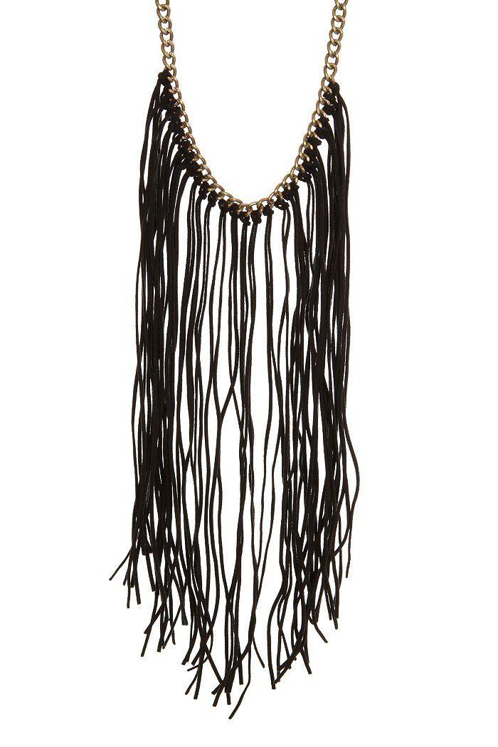 Black Fringe Gold Necklace