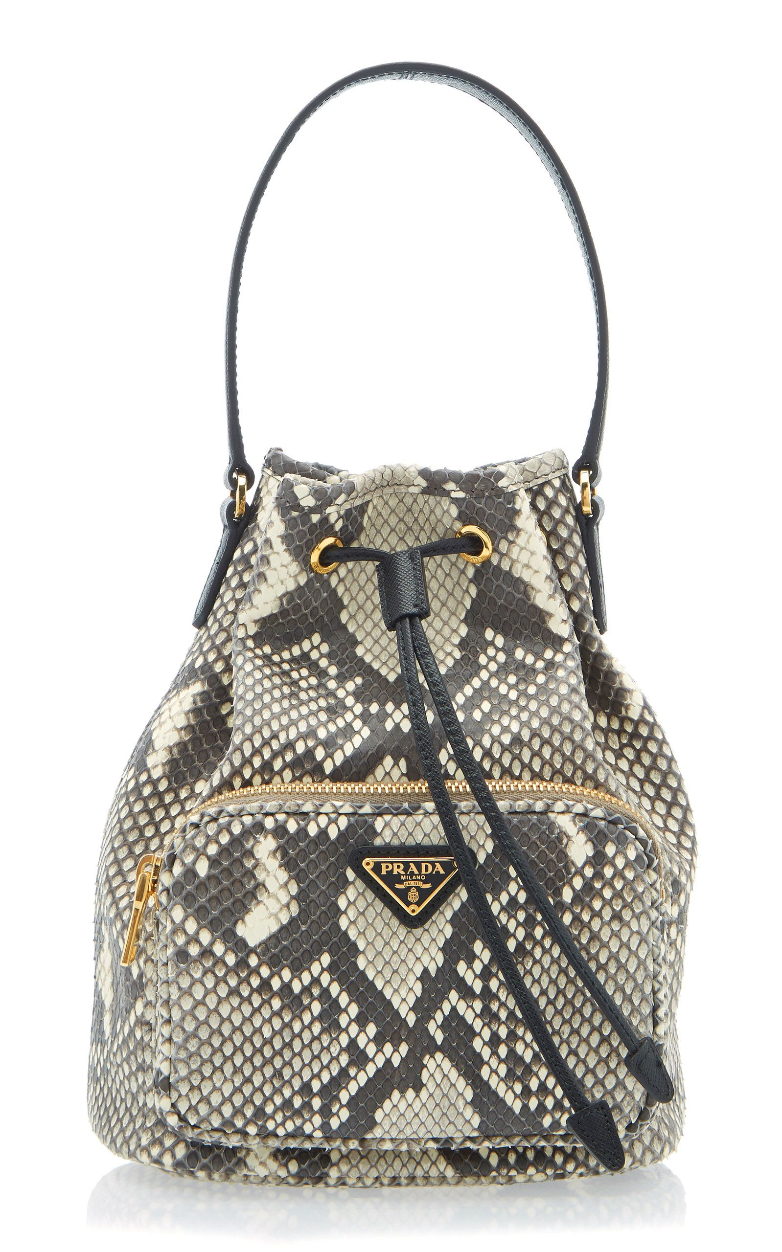 4438616579de Python Print Leather Bucket Bag in 2019 | d r a w s t r i n g | Bags ...