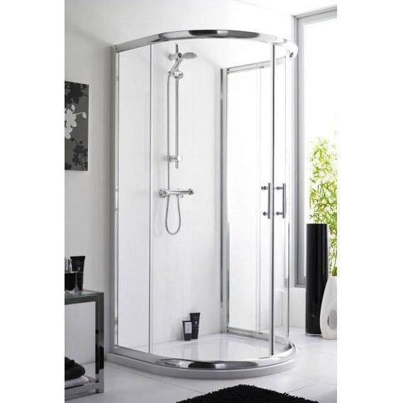 1060mm x 950mm D Shaped Shower Enclosure and Low Profile Stone ...