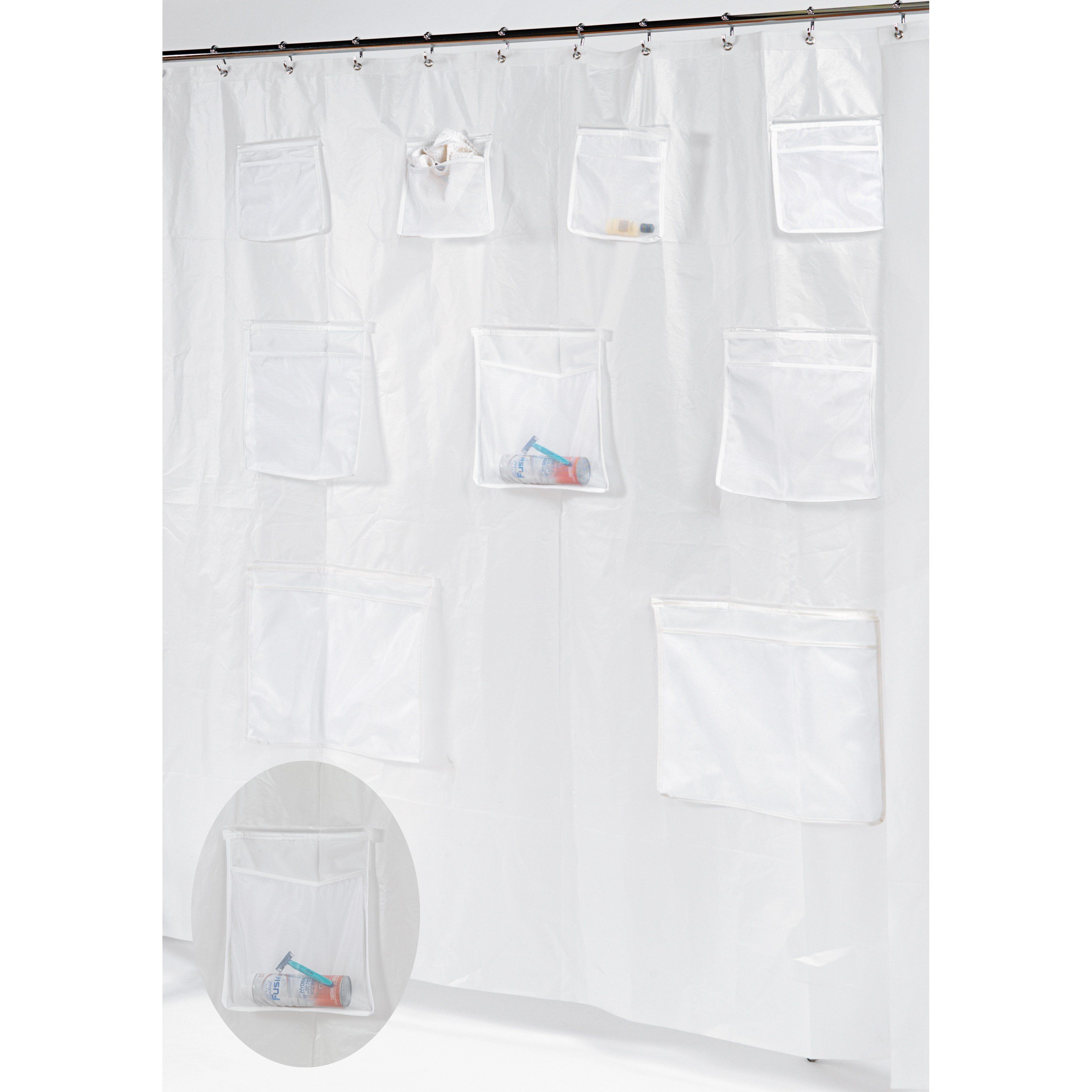 Carnation Home Fashions Pockets Peva Shower Curtain Liner With 9 Mesh Storage Pockets Vinyl Shower Curtains Hookless Shower Curtain Shower Curtain