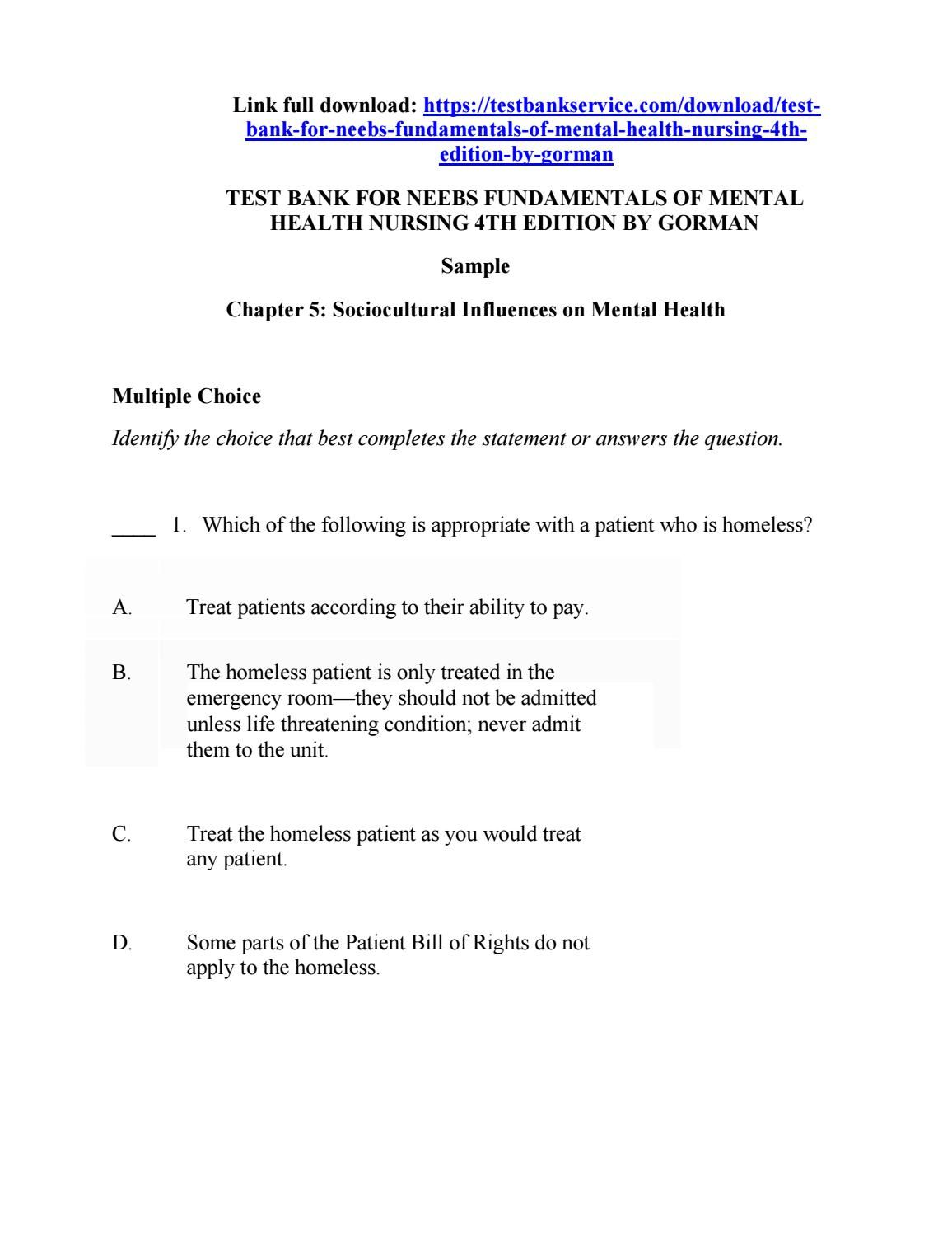 Test Bank For Neebs Fundamentals Of Mental Health Nursing 4th