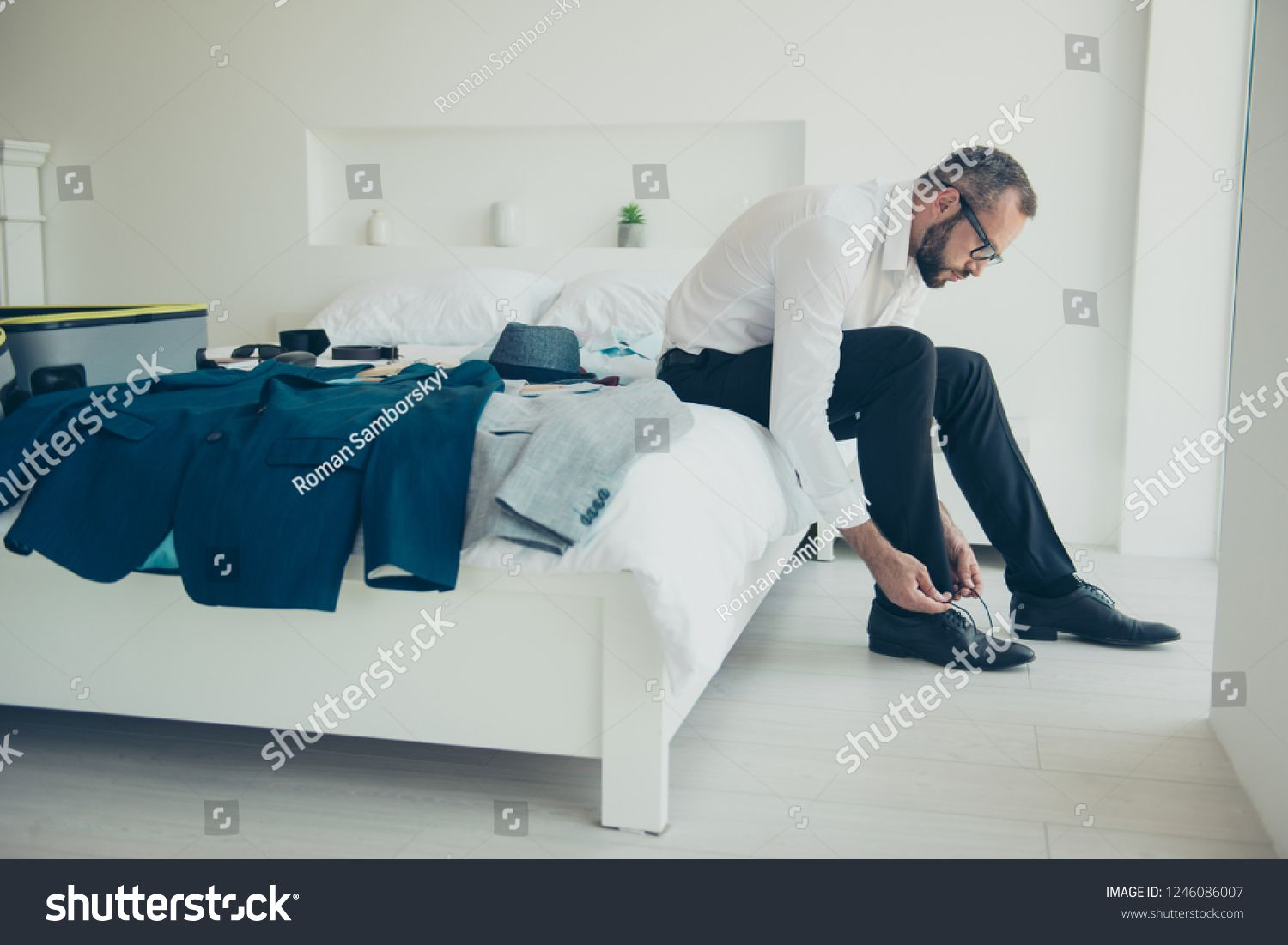 Close Up Side Profile Photo Of Sitting On Bed Bedroom Attractive