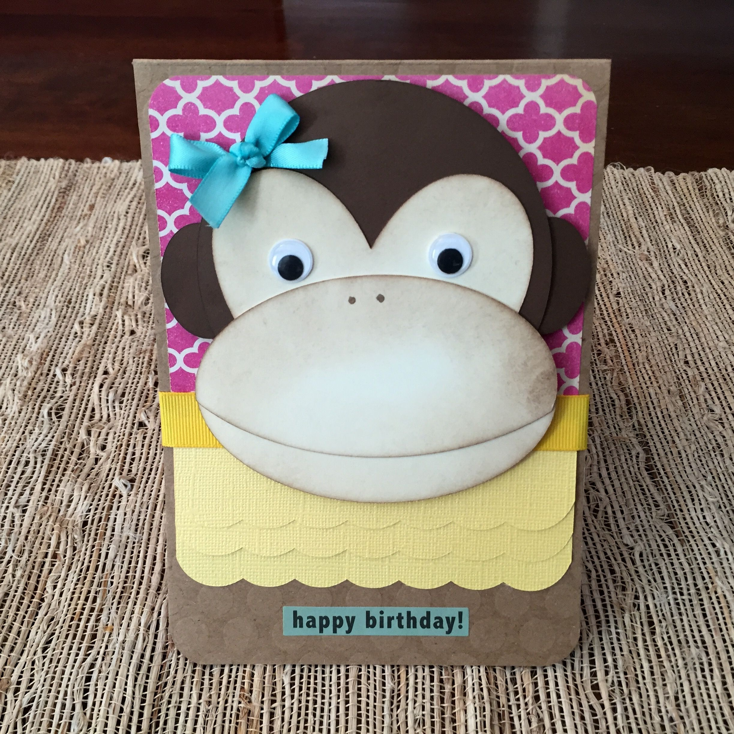 Little Monkey Birthday Card