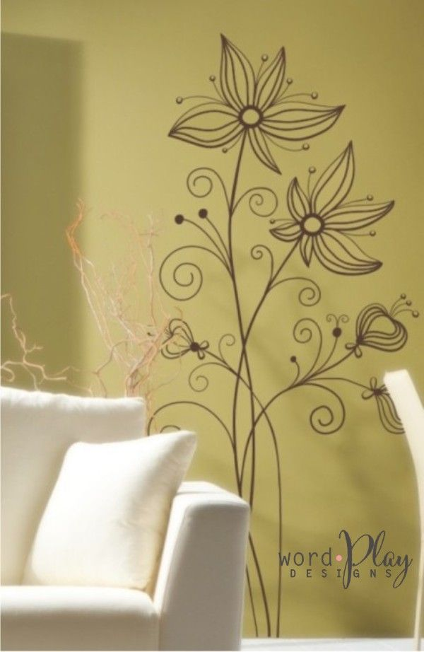 Vinyl wall decal: floral stems / Sign up for a monthly newsletter ...
