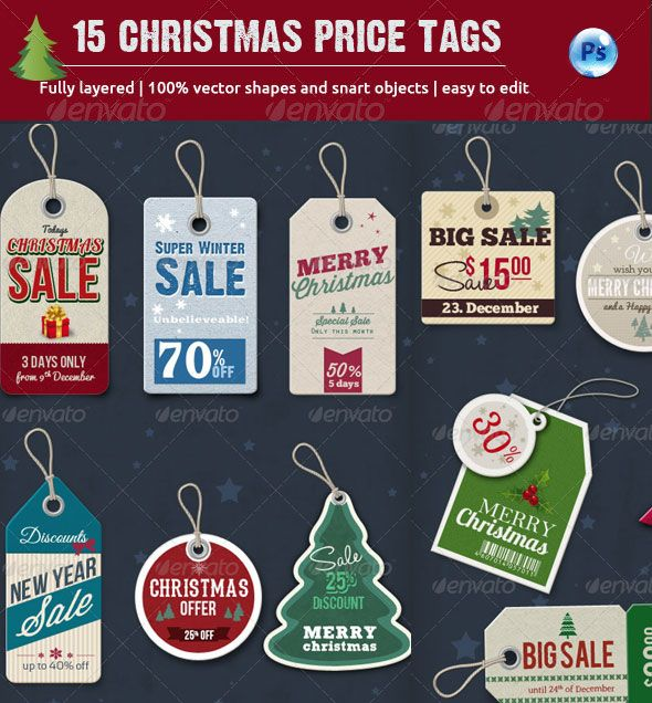Christmas Sales Price Tags Psd File  Premium  Photoshop
