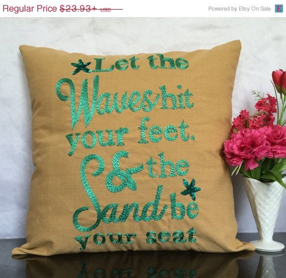 4th of July SALE Quote pillow Beach Quote by TheWhitePetalsDecor