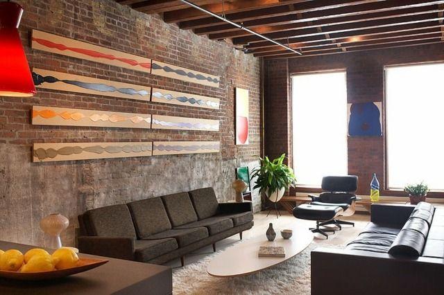 Wohnzimmer Ziegelwand ~ Wohnzimmer wand ideen gestaltung ziegel deko wohnzimmer