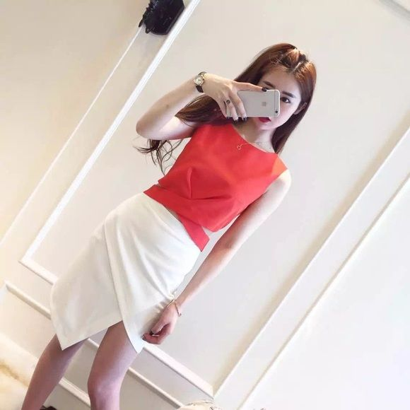 Red sexy top& skirt suit Small, advise for skinny lady who under 100lb. Icy Dresses